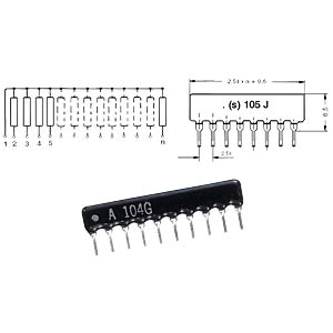 Weerstandsnetwerk, 9 weerst./10 pins, 12 kilo-ohm SIP RESISTOR NETWORKS RAA10123G