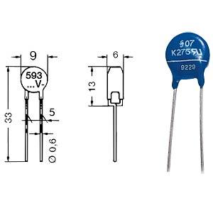 Varistor, RM 5mm, 0,25W, 250VAC = JVR7N391K FREI