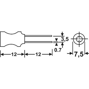 Stehende-Induktivität, 07P, Ferrit, 1,0M FASTRON 07P-102J-51