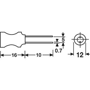 Vertical inductor, 11P, ferrite, 220µ FASTRON 11P-221K-50