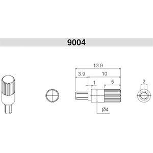 Steckachse, Ø4 x 10 mm, weiß ARAGONESA DE COMPONENTES 9004