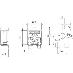 Potentiometer, SMD, 250Ohm ARAGONESA DE COMPONENTES CA6XVSMDT&R-250A2525