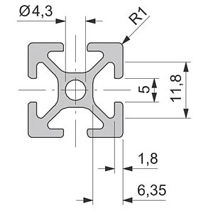 Profil 20+ offen - B 20 x 20, 100 cm FLEXLINK J9240176199