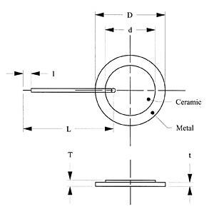 Piezo element, 5 kHz, 1500 ohm, leaded EKULIT EPZ-15MS60W