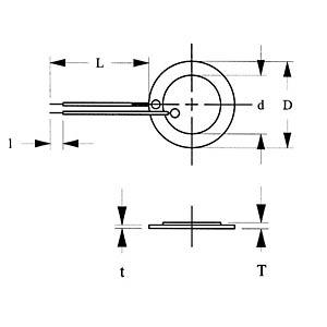 Piezoelement, 6,4 kHz, 400 Ohm, bedrahtet EKULIT EPZ-20MS64W