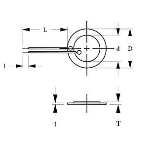 Piezoelement, 4,4 kHz, 200 Ohm, bedrahtet EKULIT EPZ-27MS44W