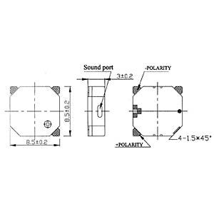 Signal generator, 85 dB, 3.0 V, 2730 Hz, SMD EKULIT SMD-08A03