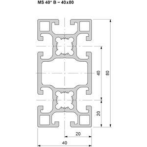 Profil 40+ offen B 40x80 50cm FLEXLINK J924186610050