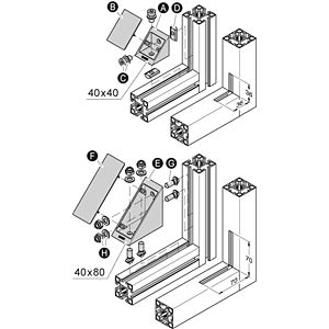 Verbinder Eck 40+ komplett 40x40, si FLEXLINK J9243340099