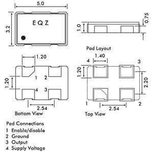 16,0MHz-Quarzoszillator, Keramik-SMD XO53 EUROQUARTZ 16.000MHZ XO53050UITA