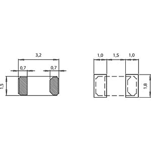 Quartz oscillator, ceramic housing, 1.5x3.2x0.9mm, 9pF MICRO CRYSTAL CC7V-T1A 32,768KHZ 9PF
