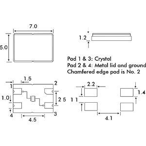 Keramik-SMD-Quarz, 5x7x1,2mm, 8,0 MHz EUROQUARTZ 8.000MHZ MQ 30/30/40/12PF