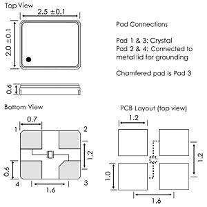 Keramik-SMD-Quarz  2x2,5x0,6mm  16,0 MHz EUROQUARTZ 16.000MHZ X22 -40+85 12PF