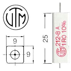 7-watt wirewound resistor, series 212  8, 1.0Ohms VITROHM KH212-810B1R