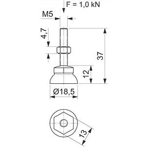 Stellfuß  Ø 18,5 - M5x37 FLEXLINK J5357450000