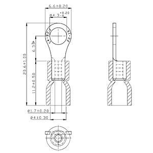 Ringkabelschuh - rot - 100 Stk. RND CONNECT RVES1-4