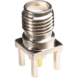 SMA plug connector, socket, print, gold-plated pin FREI