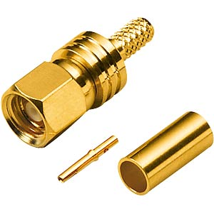 SMC crimp plug, gold-plated RG179/187 FREI