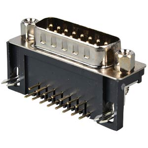 D-SUB plug, 15-pin, angled, RM 9.4 FREI