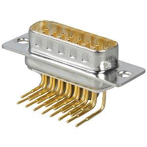 D-SUB-Stecker, 15-polig, gewinkelt, RM 9,4 FREI