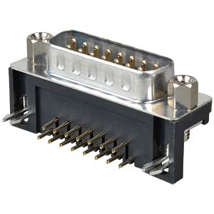 D-SUB plug, 15-pin, angled, RM 7.2 FREI