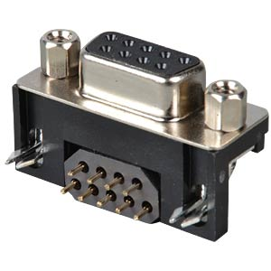 D-SUB plug socket, 9-pin with ferrite plate, angled FREI