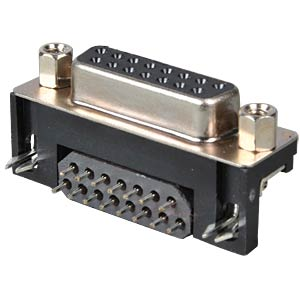 D-SUB plug socket, 15-pin with ferrite plate, angled FREI