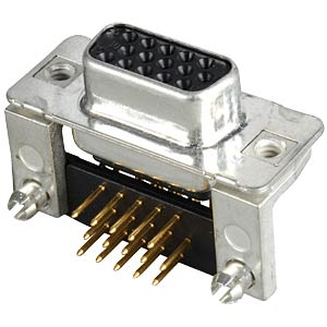 D-SUB socket, high density, 15-pin, print, angled CONEC 164A18179X