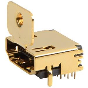 HDMI-Einbaubuchse  1.3, 90° Print, Flansch FREI