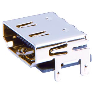 HDMI receptacle, SMD, print, angle FREI