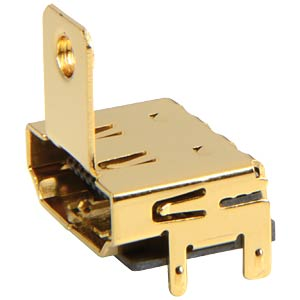 HDMI receptacle, SMD, print, flange, straight FREI