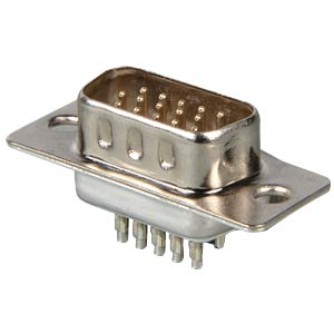 D-SUB plug, high density, 15-pin, straight FREI