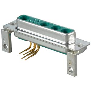 D-SUB coax jack, mixed assembly, PCB-mounting, angled CONEC 3009W4SAU99G20X