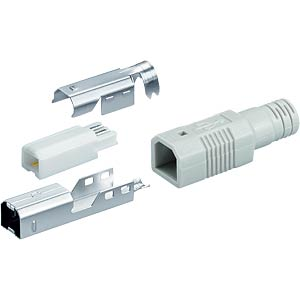 USB plug, series B, straight, incl. hood FREI