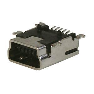 USB-Einbaubuchse, B-Mini, gew., SMD-Montage FREI