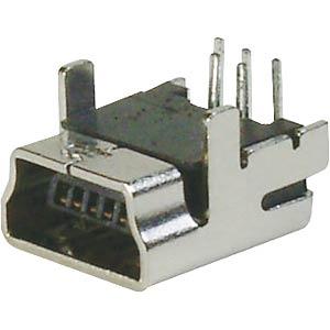 USB panel socket, B mini, angled, PCB assembly FREI
