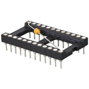 IC socket, 24-pin, with blocking capacitor FREI