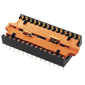 IC base, 28-pin, flat design, zero force FREI