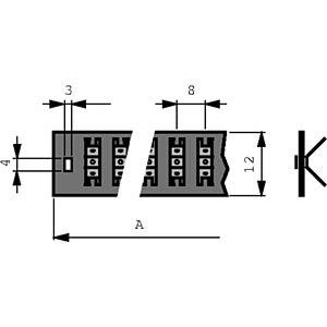 Solder strip 1x 30 Pol, 256 mm FREI 12/8 SL30