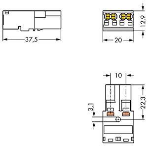 WINSTA® MIDI, Stecker 2-pol, ohne Zugentlastungsgehäuse WAGO 770-1112