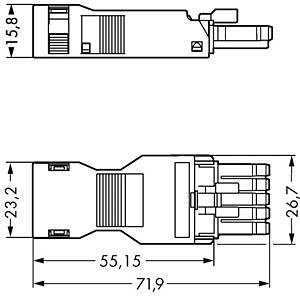 WINSTA® MINI, Buchse 5-pol, mit Zugentlastungsgehäuse WAGO 890-105