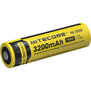 Industriezelle, Li-Ion, 18650, 3,7 V, 3200 mAh, Button Top NITECORE NC NL1832
