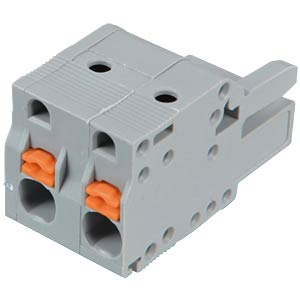 Female multi-point connector with operating push buttons, 2-pin, WAGO 2231-202/026-000