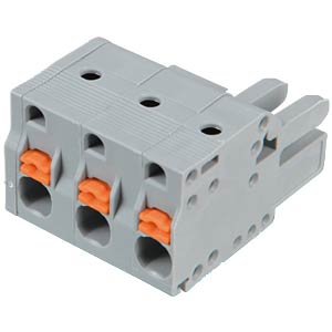 Female multi-point connector with operating push buttons, 3-pin, WAGO 2231-203/026-000