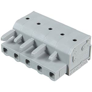 Female multi-point connector with operating push buttons, 5-pin, WAGO 2231-205/026-000