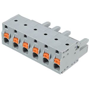 Female multi-point connector with operating push buttons, 6-pin, WAGO 2231-206/026-000