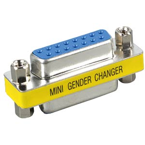 Gender changer, adapter, 2x 15-pin. D-Sub BU FREI