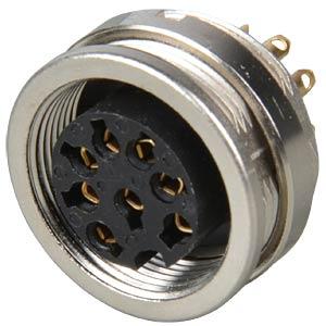 Panel-mounted coupler, front mounting, IP68, 8-pin LUMBERG 0304 08