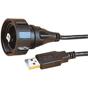 USB cable IP68 type B - standard type A, 3m BULGIN PX0840/B/3M00