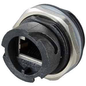 RJ45 installation housing, coupler, shielded, black CONEC 17-10009